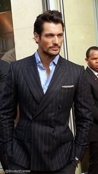 Pin striped suit.