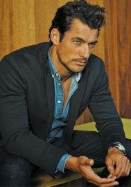 Denim dress shirt with suit.